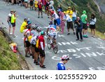 Small photo of Col du Glandon, France - July 24, 2015: The French cyclist Benoit Vaugrenard of FDJ Team,climbing the road to Col du Glandon in Alps, during the stage 19 of Le Tour de France 2015.