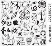 shaman character doodles | Shutterstock .eps vector #1025553724