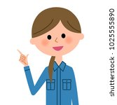 female worker  finger pointing   Shutterstock .eps vector #1025555890