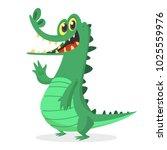funny cartoon crocodile...   Shutterstock .eps vector #1025559976