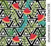 tropical flower and watermelon... | Shutterstock .eps vector #1025566738