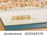 issue word on wooden cubes....   Shutterstock . vector #1025569570
