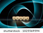 issue word on wooden cubes....   Shutterstock . vector #1025569594