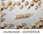issue word on wooden cubes....   Shutterstock . vector #1025569618
