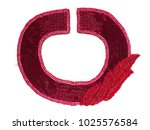 Small photo of Embellishment beaded collar dress, red beads, isolated on white background