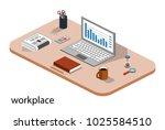isometric 3d vector... | Shutterstock .eps vector #1025584510