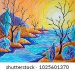 oil painting  landscape ... | Shutterstock . vector #1025601370