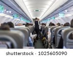 interior of commercial airplane ... | Shutterstock . vector #1025605090