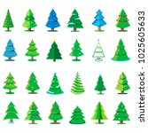 vector christmas trees... | Shutterstock .eps vector #1025605633