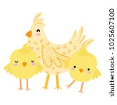 colorful hen with chicks farm... | Shutterstock .eps vector #1025607100
