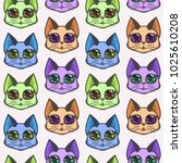 seamless pattern with cats heads | Shutterstock .eps vector #1025610208