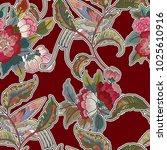 dark enchanted vintage flowers... | Shutterstock .eps vector #1025610916