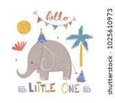 cute birthday elephant. cartoon ...   Shutterstock .eps vector #1025610973