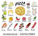 pizza menu hand drawn sketch... | Shutterstock .eps vector #1025615884