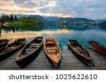 traditional wooden boats pletna ...   Shutterstock . vector #1025622610