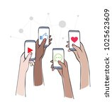 social network   friends... | Shutterstock .eps vector #1025623609