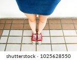 selfie of sneakers. woman... | Shutterstock . vector #1025628550
