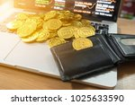 crpytocurrency and wallet on... | Shutterstock . vector #1025633590
