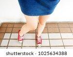 selfie of sneakers. woman... | Shutterstock . vector #1025634388