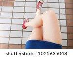 selfie of sneakers. woman... | Shutterstock . vector #1025635048