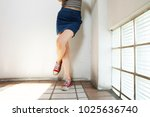 red sneakers of free space.... | Shutterstock . vector #1025636740