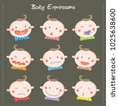 baby doodles expressions | Shutterstock .eps vector #1025638600