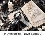 old book with evil spells ... | Shutterstock . vector #1025638810