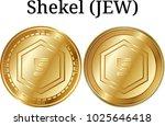 set of physical golden coin... | Shutterstock .eps vector #1025646418