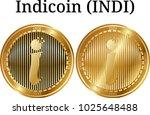 set of physical golden coin... | Shutterstock .eps vector #1025648488