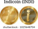 set of physical golden coin... | Shutterstock .eps vector #1025648704