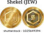 set of physical golden coin... | Shutterstock .eps vector #1025649394