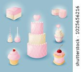 a set of wedding desserts....   Shutterstock .eps vector #1025656216