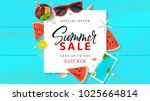 Summer Sale promo web banner. Top view on sun glasses, watermelon pieces, cocktail, smartphone, orange and seashells on wooden texture. Vector illustration with spesial discount offer.   Shutterstock vector #1025664814