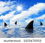 shark infested waters | Shutterstock . vector #1025670553