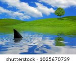 shark infested waters | Shutterstock . vector #1025670739