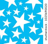 star seamless pattern on blue... | Shutterstock .eps vector #1025690020