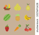 icons fruits with fruits ... | Shutterstock .eps vector #1025691628