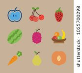icons fruits with raspberry ... | Shutterstock .eps vector #1025700298