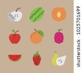 icons fruits with peach ... | Shutterstock .eps vector #1025701699