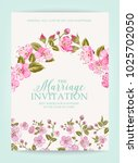 wedding invitation card with... | Shutterstock .eps vector #1025702050
