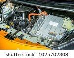 battery hybrid engine car | Shutterstock . vector #1025702308