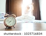 morning of a new day .man wake... | Shutterstock . vector #1025716834
