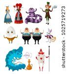 Stock vector wonderland classic tale characters collection 1025719273