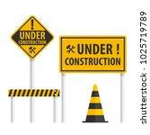 construction sign set  simple...   Shutterstock .eps vector #1025719789