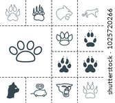 Stock vector cat icons set of editable filled and outline cat icons such as animal paw panther mouse toy 1025720266
