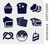 bakery icons. set of 9 editable ... | Shutterstock .eps vector #1025721004