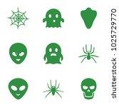 horror icons. set of 9 editable ... | Shutterstock .eps vector #1025729770
