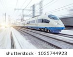 high speed train rides at high... | Shutterstock . vector #1025744923