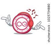 listening music aeternity coin... | Shutterstock .eps vector #1025754880