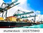 view on container ship in the... | Shutterstock . vector #1025755843